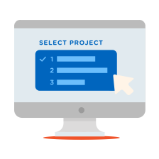 "Illustration of a ""select project dropdown"" screen"