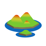 Illustration of a 3d model of islands showing a colour-gradient of topographic contours
